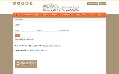 Screenshot of Login Page iaba.us - Login | IABA - captured Oct. 15, 2017