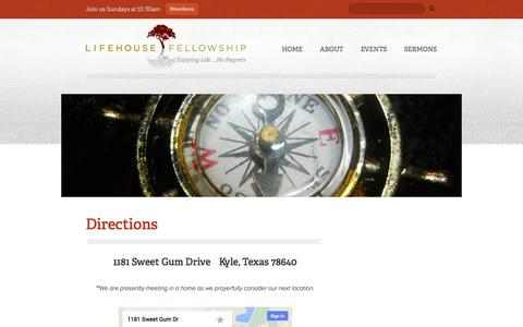 Screenshot of Contact Page Maps & Directions Page lifehousekyle.org - LifeHouse Fellowship: Kyle, TX - captured Oct. 22, 2014