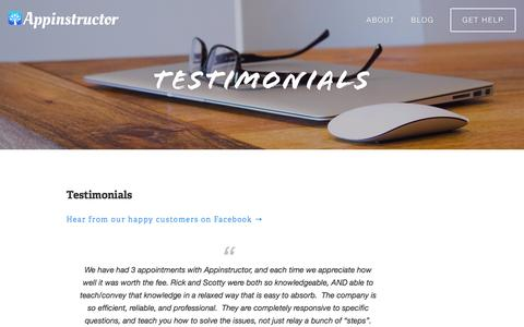 Screenshot of Testimonials Page appinstructor.com - Appinstructor — Testimonials - captured Dec. 25, 2015
