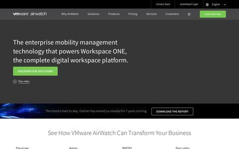 Screenshot of Home Page air-watch.com - Enterprise Mobility Management | EMM | VMware AirWatch |  AirWatch - captured Nov. 19, 2017