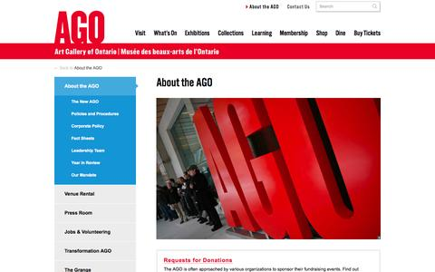 Screenshot of About Page ago.net - About the AGO | AGO Art Gallery of Ontario - captured Sept. 19, 2014