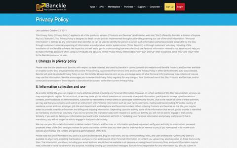 Screenshot of Privacy Page banckle.com - Banckle - Privacy - captured Sept. 19, 2014