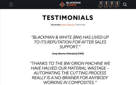 Screenshot of Testimonials Page blackmanandwhite.com captured Nov. 6, 2018