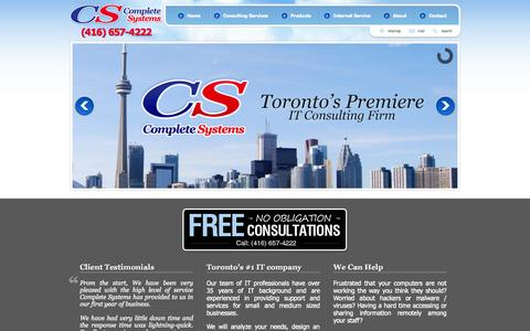 Screenshot of Home Page compsys.to - Complete Systems, IT consulting for small and medium businesses in Toronto and the GTA. Computer consulting, networking, internet services, antivirus protection are a sampling of the services we offer. - captured Oct. 1, 2014