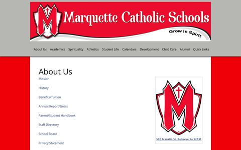 Screenshot of About Page marquettecatholic.com - About Us  Marquette Catholic Schools | Marquette Catholic Schools - captured Jan. 28, 2018