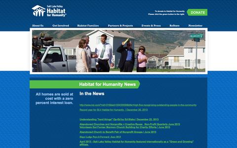 Screenshot of Press Page habitatsaltlake.com - Habitat for Humanity | Events and Press | In the News - captured Feb. 3, 2016