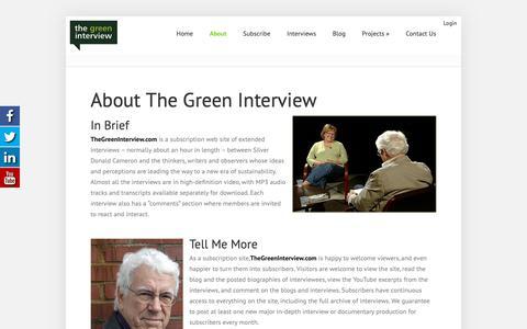 Screenshot of About Page thegreeninterview.com - About The Green Interview - The Green Interview - captured Oct. 20, 2018
