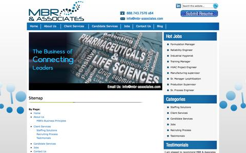 Screenshot of Site Map Page mbr-associates.com - Pharmaceutical Recruiting Firms | Pharmaceutical Recruitment | MBR & Associates - captured Oct. 3, 2014