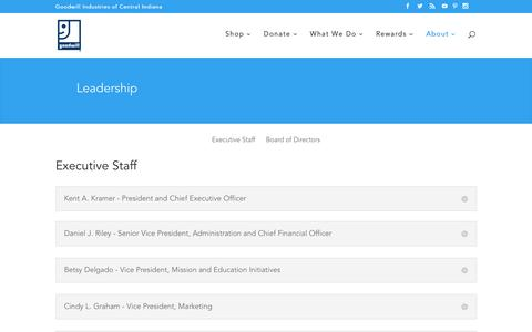 Screenshot of Team Page goodwillindy.org - Leadership - Goodwill Indy - captured Sept. 12, 2016