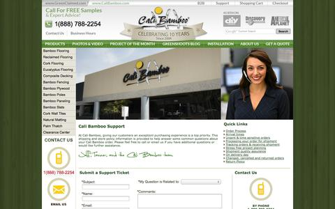 Screenshot of Support Page calibamboo.com - Shipping & Cali Bamboo Store Policy - Order Tracking - captured Sept. 19, 2014