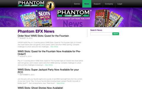 Screenshot of Press Page phantomefx.com - Phantom EFX News : Williams Interactive / Phantom EFX - captured Sept. 29, 2014
