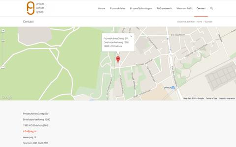 Screenshot of Contact Page pag.nl - ProcesAdviesGroep BV |   Contact - captured Oct. 3, 2014