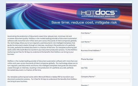 Screenshot of Trial Page hotdocs.com - Try a 30-Day-Trial of HotDocs | HotDocs - captured Dec. 14, 2018
