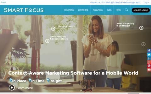 Screenshot of Home Page smartfocus.com - Context-Aware Marketing for a Mobile World | SmartFocus - captured Jan. 15, 2015