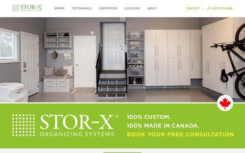 Screenshot of Home Page stor-x.com - Custom Closets & Storage | STOR-X Organizing Systems - captured Oct. 1, 2018