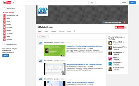 Screenshot of YouTube Page youtube.com - 360visibilityInc  - YouTube - captured Oct. 29, 2014