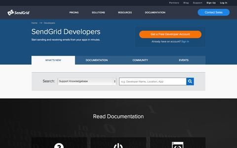 Screenshot of Developers Page sendgrid.com - SendGrid Developers Community - captured Oct. 10, 2014