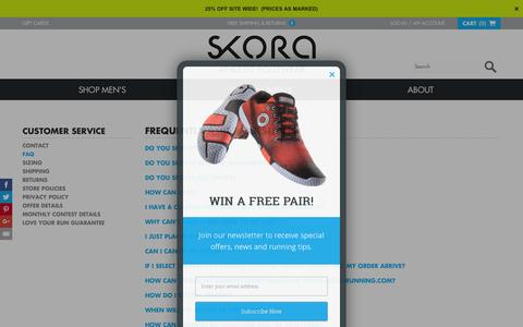 Screenshot of FAQ Page skorarunning.com - SKORA    FAQ - captured Nov. 25, 2015