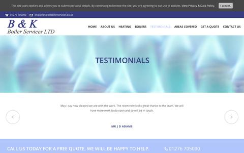 Screenshot of Testimonials Page bkboilerservices.co.uk - Testimonials | B&K Boiler Services - captured July 15, 2018