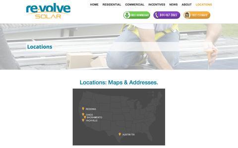 Screenshot of Locations Page revolvesolar.com - Revolve Locations | A Northern CA and Austin Solar Company - captured Jan. 11, 2016