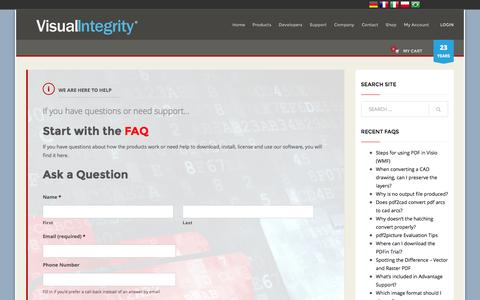Screenshot of Support Page visual-integrity.com - Support | Visual Integrity - captured Feb. 25, 2016