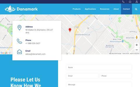 Screenshot of Contact Page danamark.com - Contact - Danamark - captured Oct. 7, 2018