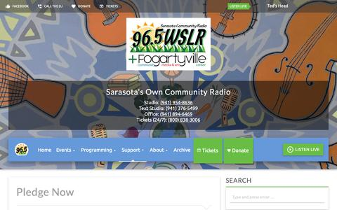 Screenshot of Support Page wslr.org - Pledge Now - 96.5 WSLR - Sarasota's Own Community Radio - captured Nov. 15, 2018