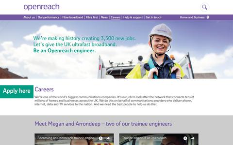 Screenshot of Jobs Page openreach.co.uk - Careers   Openreach - captured Sept. 24, 2018