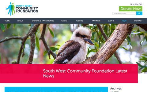 Screenshot of Press Page southwestcommunityfoundation.org - South West Community Foundation Community Grants Program NewsSouth West Community Foundation - captured Sept. 21, 2018