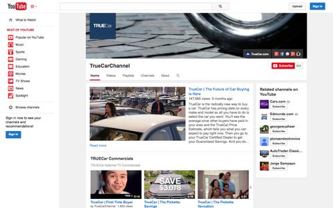Screenshot of YouTube Page youtube.com - TrueCarChannel  - YouTube - captured Oct. 22, 2014