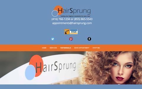 Screenshot of Testimonials Page hairsprung.com - Hair Salon | Testimonials | Toronto, ON - captured July 15, 2018
