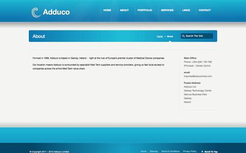 Screenshot of About Page adducomed.com - Adduco - Adduco Ltd - About - Project Support for Med Tech Companies - captured Sept. 30, 2014