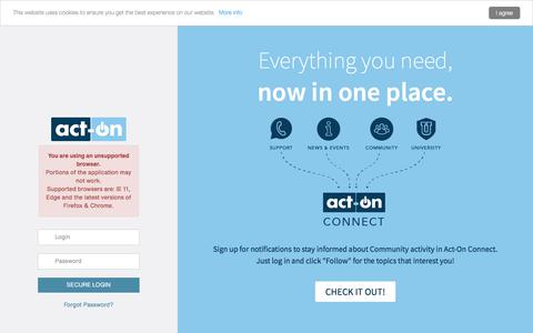 Screenshot of Support Page actonsoftware.com - Act-On :: Login - captured July 12, 2019