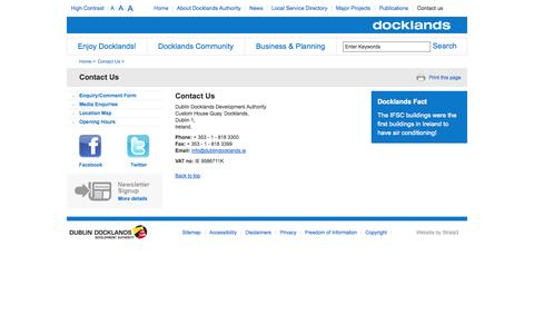 Screenshot of Contact Page ddda.ie - Contact Us - Dublin Docklands - captured Oct. 5, 2014