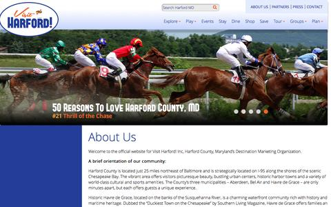 Screenshot of About Page visitharford.com - Harford County, MD | Maryland Tourism & Getaways - captured March 11, 2016
