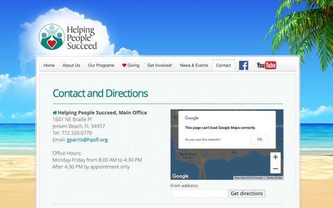 Screenshot of Contact Page hpsfl.org - Contact - captured Sept. 28, 2018