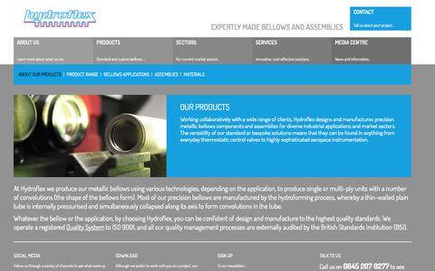 Screenshot of Products Page hydroflex.co.uk - Our Products - Custom Bellows - Metallic Bellows| Hydroflex - captured Oct. 3, 2014