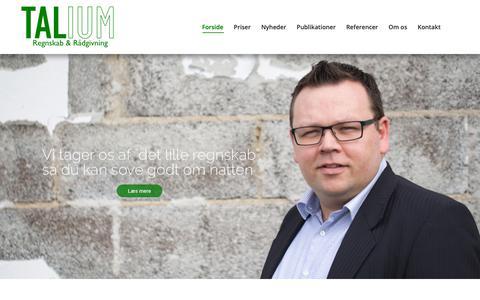 """Screenshot of Home Page talium.dk - Talium - Vi tager """"det lille regnskab"""", så du kan sove godt om natten. - captured Nov. 3, 2018"""