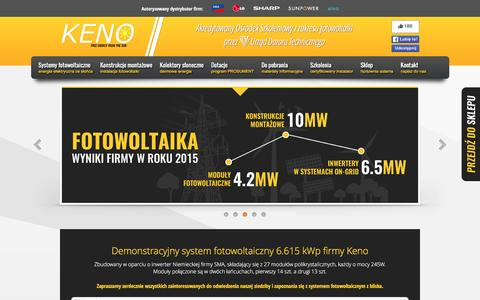 Screenshot of Home Page keno-energy.com - KENO Nowoczesne systemy solarne - captured May 28, 2016