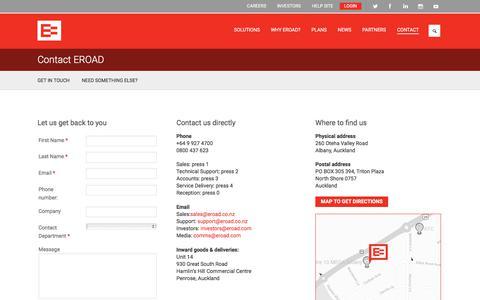 Screenshot of Contact Page eroad.co.nz - Contact EROAD  | EROAD - captured Sept. 26, 2018