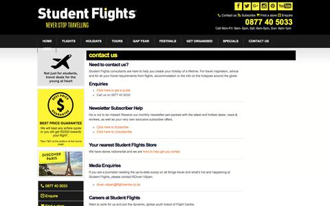 Screenshot of Support Page studentflights.co.za - Contact Us - Student Flights - captured Sept. 22, 2016