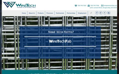 Screenshot of Home Page wiretechfab.com - WireTech Fabricators - Wire Fabrication - Wire FormingwtfWordPress - captured Feb. 17, 2016
