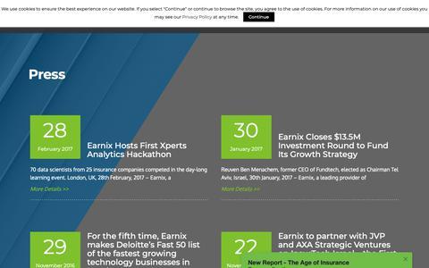 Screenshot of Press Page earnix.com - Press - 2/25 - Earnix - captured April 10, 2019
