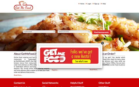 Screenshot of Home Page getmefood.in - Food Home Delivery Hyderabad | Order Food Online |Hyderabad | GetMeFood - captured Aug. 5, 2015