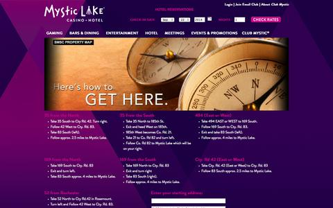 Screenshot of Maps & Directions Page mysticlake.com - Driving Directions   Mystic Lake Casino Hotel - captured Sept. 23, 2014