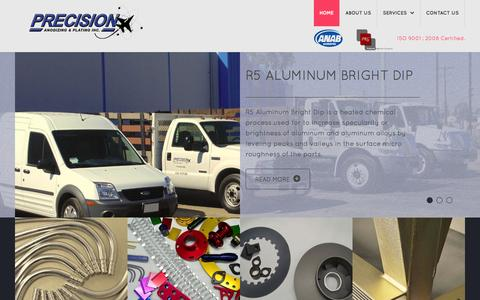 Screenshot of Home Page precisionanodizingandplating.com - Precision Anodizing & Plating, Inc. - Anaheim - Orange County - captured Oct. 2, 2014