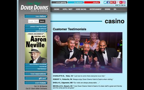 Screenshot of Testimonials Page doverdowns.com - Dover Downs Customer Testimonials - captured Oct. 12, 2017