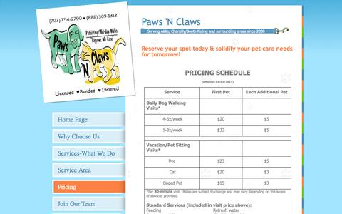 Screenshot of Pricing Page pawsnclawsva.com - Pricing - captured Oct. 2, 2014