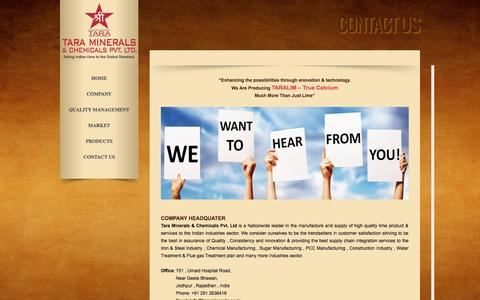 Screenshot of Contact Page taraminerals.co.in - CONTACT US - Tara Minerals & Chemicals Pvt. Ltd. - captured Oct. 27, 2014