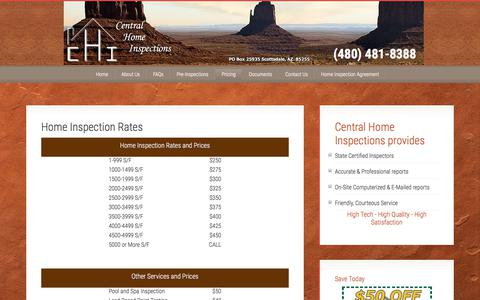 Screenshot of Pricing Page centralhomeinspections.com - Phoenix home inspection, Scottsdale home inspector, Mesa home inspections, home inspection Scottsdale, home inspections Phoenix, Phoenix Home Inspector - captured July 16, 2018